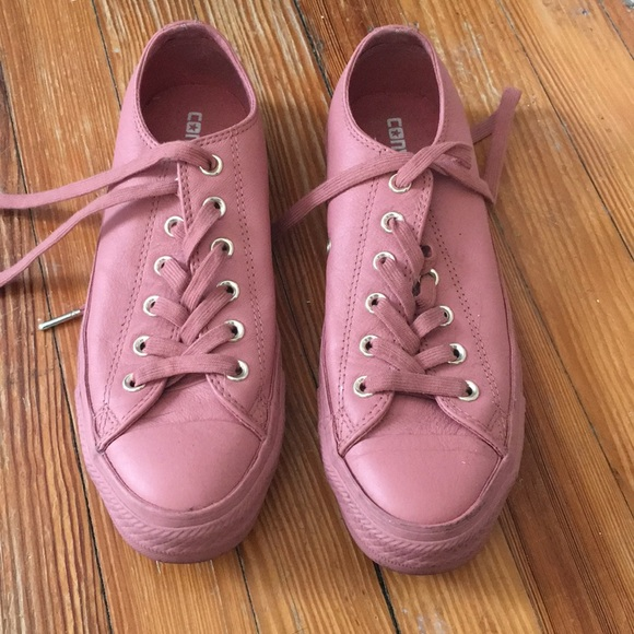 Converse Pink Leather Shoes Women 85